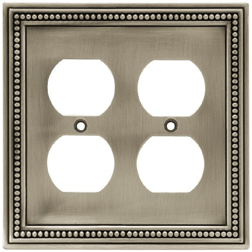 Brainerd Wall Plate (Brainerd 64768 Beaded Double Duplex Outlet Wall Plate / Switch Plate / Cover, Brushed Satin Pewter)