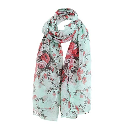 FORESTIME Women Ladies Flowers Print Pattern Lace Long Scarf Warm Wrap Shawl (green) (Forest Green Flower Pattern)