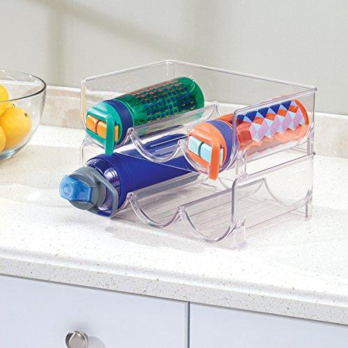 InterDesign Linus Stackable Wine Storage Rack for Kitchen Countertops, Cabinets, Refrigerators-Clear Water Bottle 3