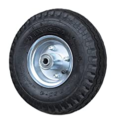 """Listing is for 1 (One) Service Caster 10"""" pneumatic tire on wheel with centered hub for 1/2"""" axle. Use on casters, carts and applications for low speed, non-highway use. Ideal for cushioned, shock absorbing, easy rolling ride. These wheels fe..."""