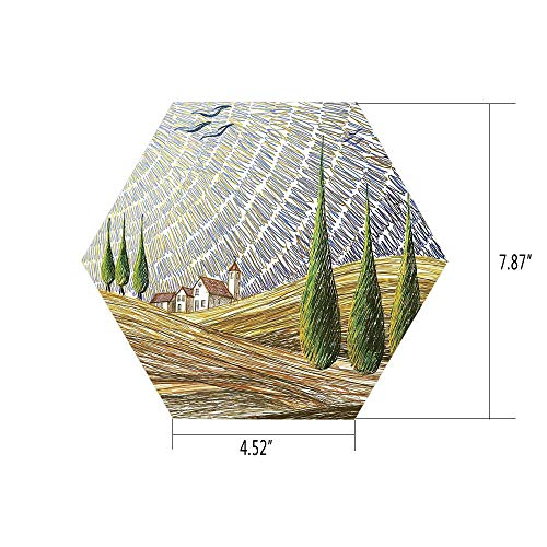 PTANGKK Hexagon Wall Sticker,Mural Decal,Tuscan Decor,Van Gogh Style Italian Valley Rural Fields with European Scenery Digital Painting Artsy Print,Multi,for Home Decor 4.52x7.87 10 Pcs/Set