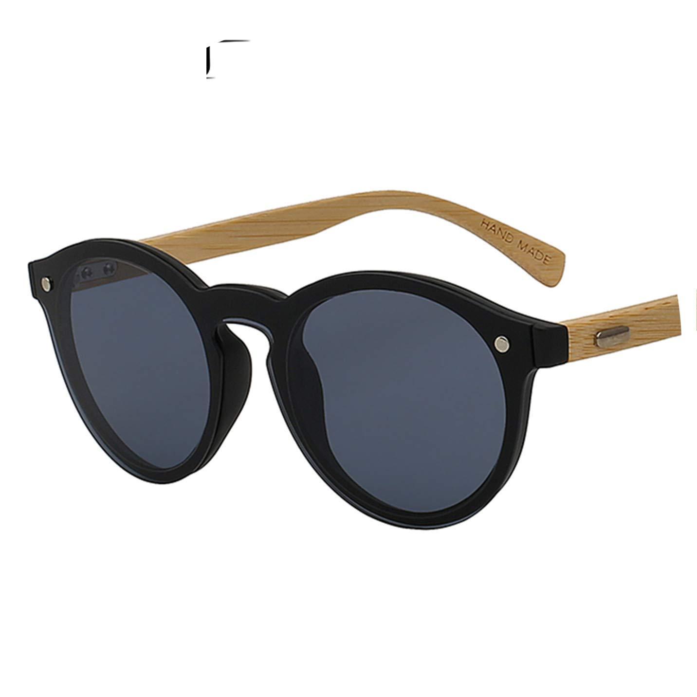 Amazon.com: Gafas de sol redondas para mujer de bambú ...