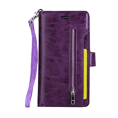 iPhone 7 Plus Wallet Case,iPhone 8 Plus Wallet Case,(5.5) Haibao Leather Wristlet [Zipper Cash Storage] [9 Card Slots Including 1 ID Window/Photo Frame] Premium PU Leather Purse Case (Purple) (For One Htc Men Camo Phone Cases)