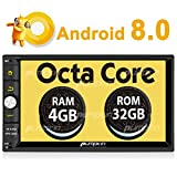 Android 8.0 Car Stereo Double Din Android Auto, Octa Core 32GB+ 4GB Radio with Bluetooth, GPS Navigation, Support Fastboot, WIFI, MirrorLink, Backup Camera, 128GB USB SD, Aux, 7 inch Touch Screen