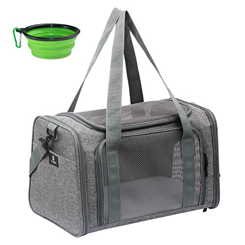 X-ZONE PET Airline Approved Pet Carriers,Soft Sided Collapsible Pet Travel Carrier for Medium Puppy and Cats (Medium, Grey)