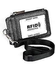 Porta tarjetas con cremallera, ID de cuero Cartera con tarjeta de identificación Badge con 5 ranuras para tarjetas, Monedero, monedero para oficinas, licencia de conducir, identificación de la escuela, (negro)