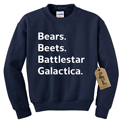 NuffSaid Beets Bears Battlestar Galactica Crewneck Sweatshirt Sweater Jumper - Unisex Crew (XLarge, Navy Blue)