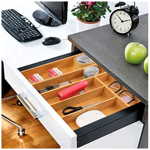 Kitchen Bamboo Expandable Drawer Organizer for Utensils Holder, Adjustable Cutlery Tray, Wood Drawer Dividers Organizer for… silverware organizers