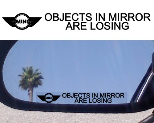 (Crawford Graphix (2) Mirror Decals Objects in Mirror are Losing for Mini Cooper Clubman Classic S Convertible Supercharged Sport Coupe Turbo)