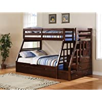 Jason espresso finish wood twin over full bunk bed set with stair case on the end with trundle and storage for easy climbing