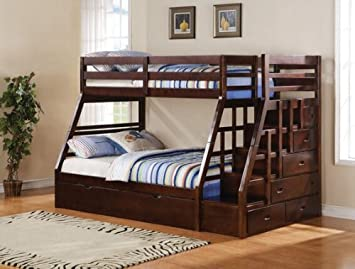 Jason Espresso Finish Wood Twin Over Full Bunk Bed Set With Stair Case On The End