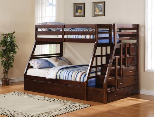 espresso bunk bed with stairs - 8