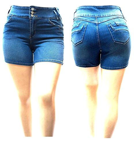 Premium Denim Shorts (1826 Jeans C-H-L Women's Premium Plus Size High Waist Blue Denim Jeans Shorts Stretch (14))