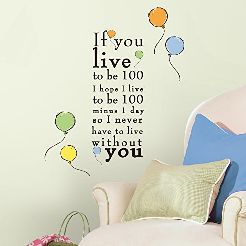 RoomMates Winnie the Pooh Live to be 100 Peel and Stick Wall Decals