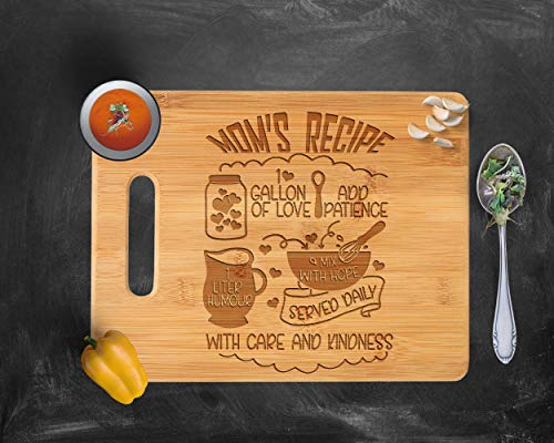 - Recipe for a Mom Cute Funny Laser Engraved Bamboo Cutting Board - Wedding, Housewarming, Anniversary, Birthday, Mother's Day, Gift