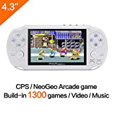 CZT 64Bit Handheld Game Console 4.3'' Video Game Console Support Built-in 650 CPS/NEOGEO/GBA/SFC/MD/FC/GBC/SMS/GG Games Mp5 Player (White)