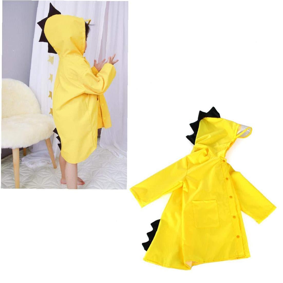Bambini Raincoat Dinosaur Forma Leggera Indumenti Impermeabili del Fumetto dei Capretti con Cappuccio Slicker Rain Jacket per Il Ragazzo per La Ragazza Giallo XL