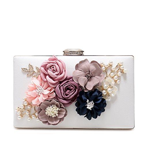 Evening Clutch Purse Women's Satin Flower Pearl Beaded Evening Handbag (Clutch Purse)