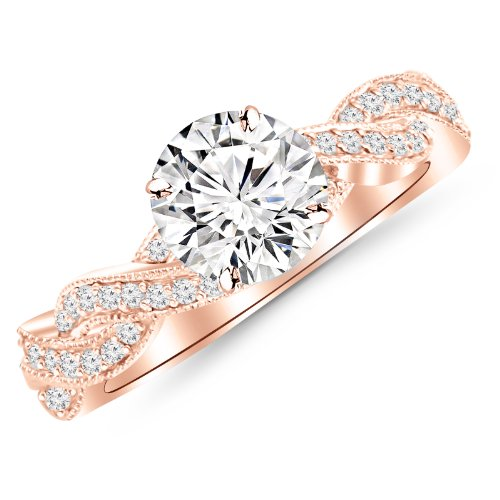 0.65 Carat Twisting Designer Eternity Love Split Shank Diamond Engagement Ring With Milgrain 14K Rose Gold with a 0.37 Carat I-J VS1-VS2 Center -