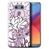 STUFF4 Gel TPU Phone Case / Cover for LG G6/H870/LS993/VS998 / White/Purple Design / Henna Paisley Flower Collection