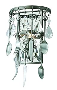 Troy Lighting Bistro 1-Light Wall Sconce - Graphite Finish with Antique Pewter Flatware and Crystal Drops