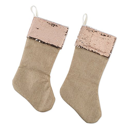 DII CAMZ10921 Burlap Stockings, Fireplace Ornament, Holiday Décor, Or Christmas Party, Set of 2, 20 x 7, Linen with Champagne Sequin Border-Stocking, Set of 2, 2 Pack by DII