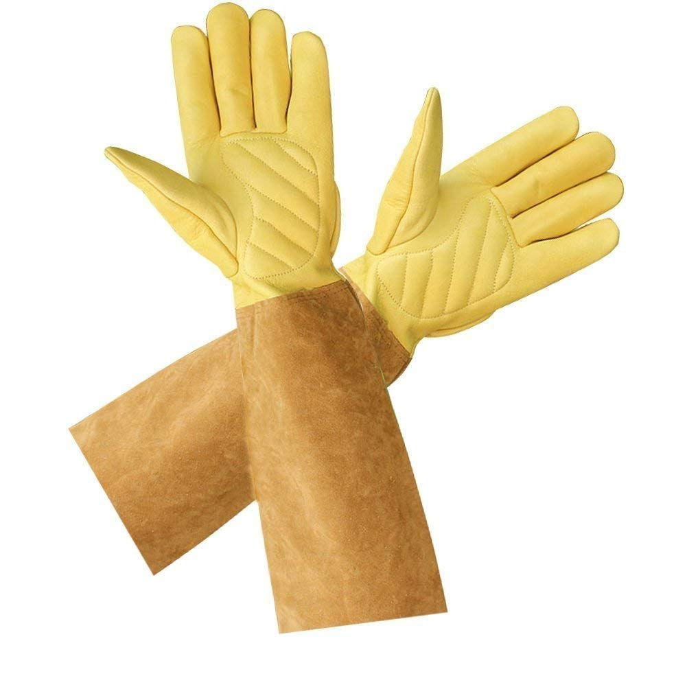 Rose Pruning Gloves Professional Pruning Thornproof Gardening Gloves with Long Gauntlet to Protect Your Arms Until the Elbow.Yellow Brown ST102 Medium 7.5-8