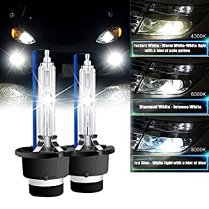 RCP - D2S8 - (A Pair) D2S/D2R 8000K Xenon HID Replacement Bulb Ice Blue Metal Stents Base 12V Car Headlight Lamps Head Lights 35W