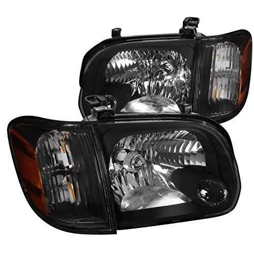 For Toyota Tundra Sequoia BLACK Headlights Headlamps+Corner Signal Lamps Pair (Toyota Sequoia Corner)