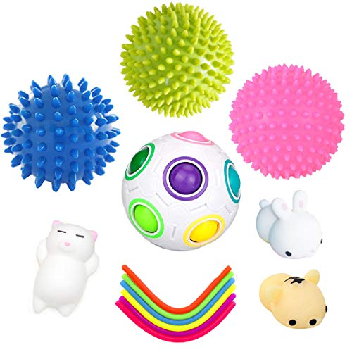 - Tactile Sensory Toys, 6 Stretch Strings/ 3 Spiky Sensory Balls/Rainbow Ball Magic Cube/Squeeze Toys for Kid and Adlut,Reduce Stress and Anxiety for ADHD ADD OCD Autism