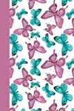 Journal: Pink and Blue Butterflies 6x9 - LINED JOURNAL - Journal with lined pages - (Diary, Notebook) (Birds & Buttterflie...