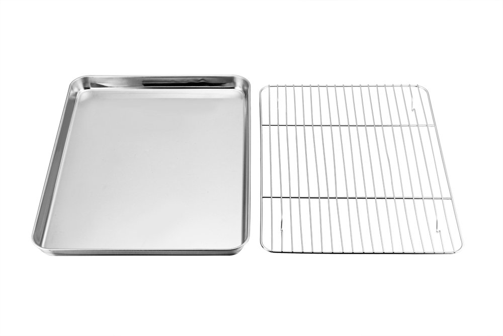 Toaster Oven Pan and Rack Set, P&P Chef Toaster Oven Tray with Broiler Rack, Rectangle 12.5''x10''x1'', Non Toxic & Healthy, Heavy Duty & Rust free - Dishwasher Safe