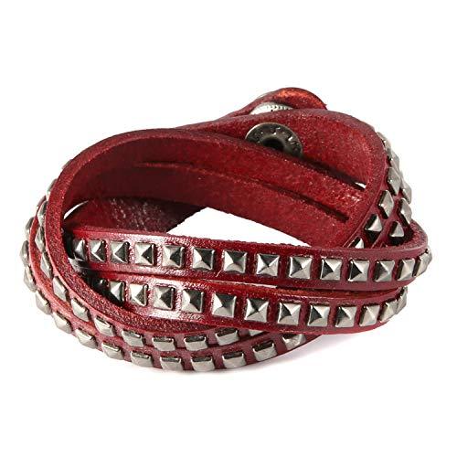 (HZMAN Handmade Genuine Vintage Silver Pyramid Studs Leather Wrist Cuff Wrap Bracelet Adjustable)