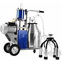 Popsport Electric Milking Machine 110V 1440 RPM Portable Milking Machine with 25L 304 Stainless Steel Bucket Milking Machine for Farm Cows (Milking Machine)