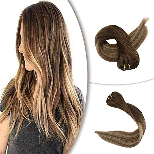 Full Shine 100% Remy Human Hair Color #3 Fading to 14 and #6 Chestnut Brown Clip in Hair Dark Brown Fading to Golden Brown and Blonde 9 Pieces Full Head Clip in Extensions 16 Inch 100g Thick Hair (Dark Brown Hair To Medium Golden Brown)