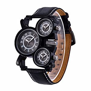 Mens Big Face Unique Military Watch - Three Black Analog Dials, Japan Quartz & Genuine Strap