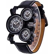 Mens Big Face Unique Military Watch - Three Black Analog Dials, Japan Quartz & Genuine Strap