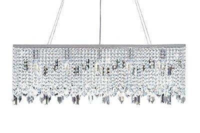 Chrome 40 Inch Rectangular Crystal Chandelier