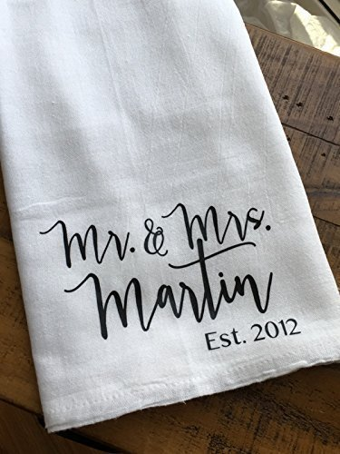 (Personalized Mr and Mrs Kitchen Towel - Custom Wedding Gift - Housewarming)