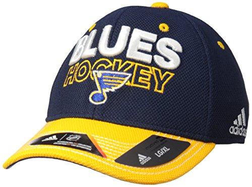 - adidas NHL St. Louis Blues Adult Men Pro Authentic Locker Room Structured Flex, Small/Medium, Navy