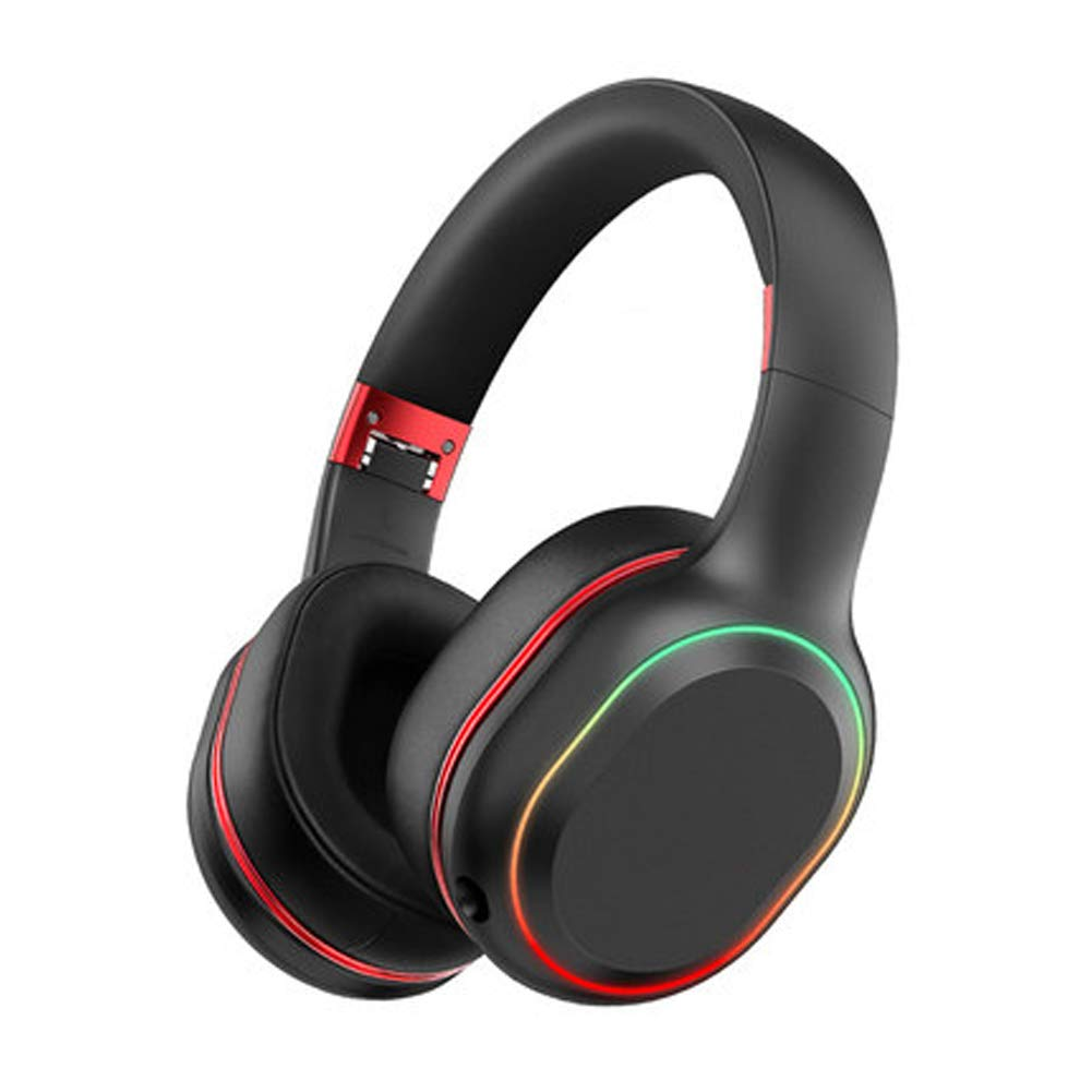 PXYUAN Bluetooth Over-Ear Headphones, Wireless Stereo Headphones Wireless and Wired Headsets with Built-in Mic,80H Music Playback time and 7 Color Gradient Color LED Lights-red