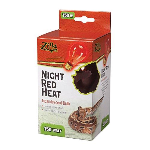 Zilla Reptile Terrarium Heat Lamps Incandescent Bulb, Night Red, (150w Red Heat Bulb)