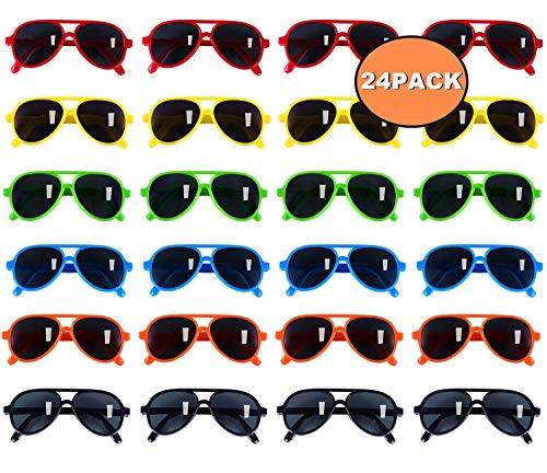 Kids Sunglasses Party Favors, Aviator Sunglasses in Bulk 24 Pack for Kids, Pool Party Favors, Goody Bag Favors, Beach Party Toys, Fun Gift for Children Birthday & Graduation Party Supplies