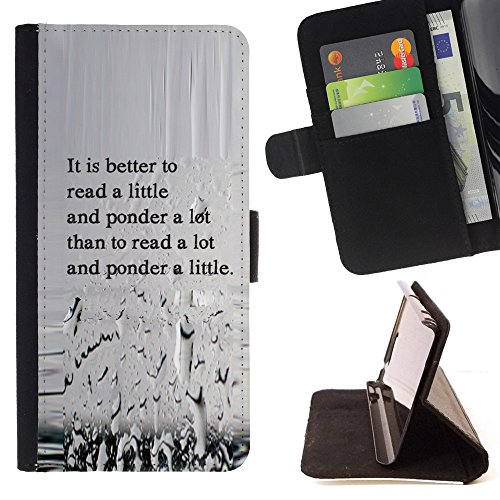 "STPlus""It Is Better To Read A Little And Ponder A Lot"" English Quote Wallet Card Holder Cover Case for LG K7/LG Tribute 5/LG Escape 3"