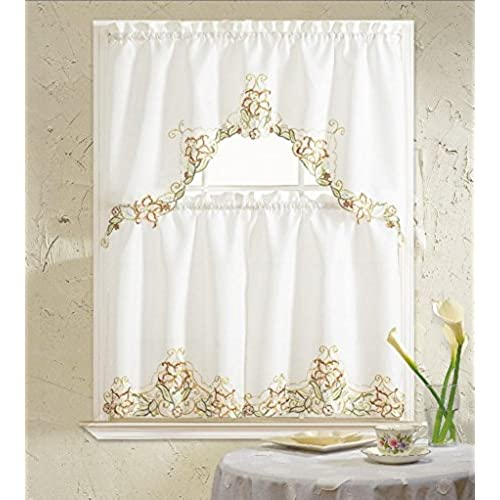 BH Home Glory Floral Embroidered 3 Piece Kitchen Curtain Window Treatment Set Beige