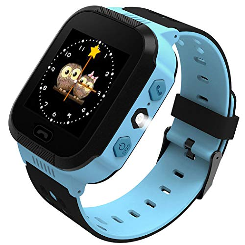 Cheap Smart Watch for Kids GPS Tracker Watch Base Station Positioning Wrist Anti-Lost Touch Screen Android Mobile Camera Cell Phone Best Gift for School Girls Children Boy (Blue)
