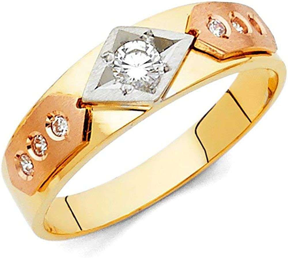 This is an image of 44k Yellow Gold White Gold and Rose Gold CZ Cubic Zirconia