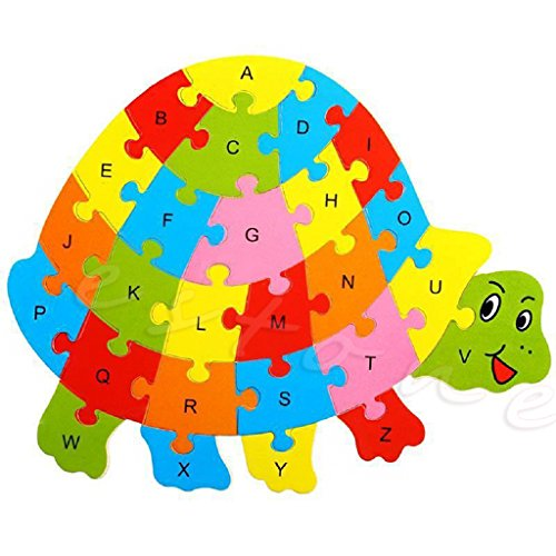 Kocome Kids Baby Wooden Animal Puzzle Numbers Alphabet Jigsaw Learning Educational Toy (Turtle) Turtle Alphabet Puzzle