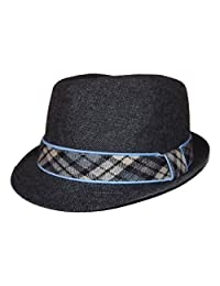 Daniel Cremieux Men's Poly/Wool Fedora Hat Grey with Plaid Band Small/Medium