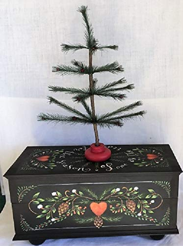 LOVE IS THE REASON TREE BOX - Handmade, Hand Painted, Christmas, Holly, Wood, Pine Cones, Box, Heart, Decorative, Wood, Decoration, Holiday, Seasonal